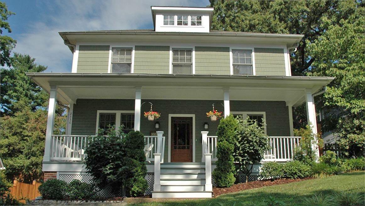 A four square style home in Arlington VA neighborhood of Maywood